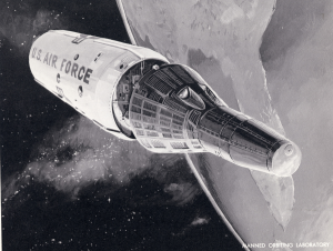 "Manned Orbiting Laboratoy (MOL), an evolution of the earlier ""Blue Gemini"" program, which was conceived to be an all-Air Force parallel of NASA's Gemini efforts. Credit: U.S. Air Force"