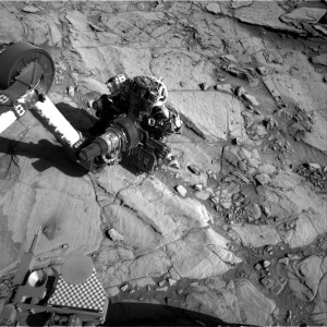 Curiosity NavCam image showing drilling operation on Mars. Credit: NASA/JPL-Caltech