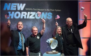 Pluto…and beyond! NASA Associate Administrator for the Science Mission Directorate John Grunsfeld, left, New Horizons Principal Investigator Alan Stern of Southwest Research Institute (SwRI), Boulder, CO, second from left, New Horizons Mission Operations Manager Alice Bowman of the Johns Hopkins University Applied Physics Laboratory (APL), second from right, and New Horizons Project Manager Glen Fountain of APL. Credit: NASA/Joel Kowsky