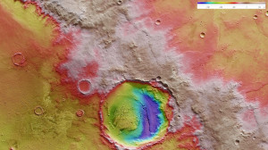 "The last hurdle for Mark Watney in the hit movie, ""The Martian"" - the edge of Schiaparelli crater. Schiaparelli crater is located in the eastern Terra Meridiani region of the equator of Mars. This topographical map shows that the terrain is steep in places and therefore, dangerous for 'The Martian' Mark Watney and his fragile vehicle. Based on topographical data, he had to find the least steep route possible.  Credit: ESA/DLR/FU Berlin, CC BY-SA 3.0 IGO"