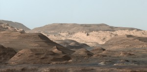 This composite image looks toward the higher regions of Mount Sharp within Gale Crater, Credit: NASA/JPL-Caltech
