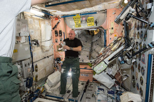 NASA astronaut Scott Kelly, a flight engineer for Expedition 43 and a member of the one-year crew, is seen here inside the ISS Unity module. Credit: NASA