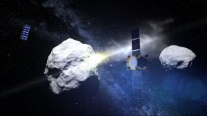 The European Space Agency's Asteroid Impact Mission is joined by two triple-unit CubeSats to observe the impact of the NASA-led Demonstration of Autonomous Rendezvous Technology (DART) probe with the secondary Didymos asteroid, planned for late 2022. Credit: ESA - ScienceOffice.org
