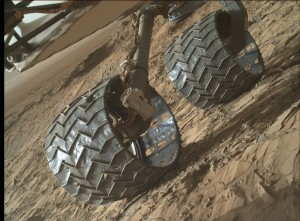 Damage watch - inspection of rover's wheels. Curiosity acquired this image using its Mars Hand Lens Imager (MAHLI), located on the turret at the end of the rover's robotic arm, on November 8, 2015, Sol 1157. Credit: NASA/JPL-Caltech/MSSS