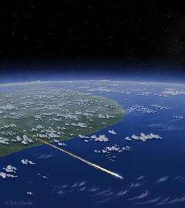 Artist's view of unidentified flying debris over Sri Lanka. Credit: Don Davis/copyright Don Davis/Used with permission.