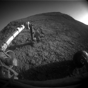 Front Hazcam on Opportunity shows its outstretched robot arm on Sol 4236. Credit: NASA/JPL