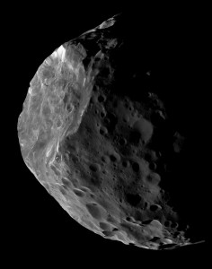Because they are so distant from the Earth, Centaurs appear as pinpricks of light in even the largest telescopes. Saturn's 200-kilometers in size moon Phoebe, depicted in this image, seems likely to be a Centaur that was captured by that planet's gravity at some time in the past. Until spacecraft are sent to visit other Centaurs, our best idea of what they look like comes from images like this one, obtained by the Cassini space probe orbiting Saturn. NASA's New Horizons spacecraft, having flown past Pluto six months ago, has been targeted to conduct an approach to a 45-kilometers wide trans-Neptunian object at the end of 2018. Credit: NASA/JPL-Caltech/Space Science Institute.