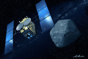 Japan's Hayabusa2 en route to asteroid Ryugu. Credit: JAXA/Courtesy of Akihiro Ikeshita