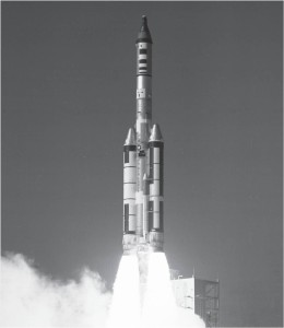 A November 1966 test flight of the Manned Orbiting Laboratory (MOL) using a Titan IIIC-9 booster from Cape Canaveral Launch Complex 40. The flight consisted of a MOL mock-up topped by a refurbished Gemini spacecraft as a Gemini B prototype. Credit: U.S. Air Force