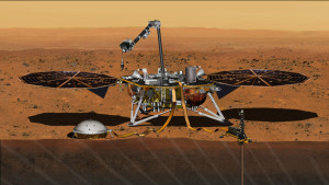 This artist's concept depicts NASA's InSight Mars lander fully deployed for studying the deep interior of Mars. Robot arm would deploy the sensitive Seismic Experiment for Interior Structure (SEIS) device, white object in foreground. Credit: NASA/JPL-Caltech