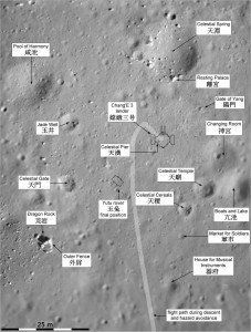 Map produced by Phil Stooke for the Atlas of Lunar Exploration, with many names assigned from a Chang'e 3 mission overview paper by Chunlai Li and coauthors. (Li, C. et al, 2015. The Chang'e 3 Mission Overview. Space Science Reviews, v. 190, pp. 85-101.) Credit: Chinese Academy of Sciences/Phil Stooke