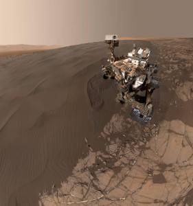 "Dated January 19, 2016, this self-portrait of NASA's car-size Curiosity Mars rover shows the vehicle at ""Namib Dune."" This is a locale where the rover's activities included scuffing into the dune with a wheel and scooping samples of sand for laboratory analysis. This new selfie combines 57 images taken by the Mars Hand Lens Imager (MAHLI) camera at the end of Curiosity's arm. Credit: NASA/JPL-Caltech/MSSS"