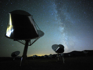 Search for ET - an ongoing enterprise. Allen Telescope Array is one of many attempts to answer: Are we alone? Credit: Seth Shostak/SETI Institute