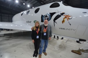 Quite the day of enjoying the unveiling of VSS Unity, Leonard & Barbara David. Credit: Robert Pearlman/collectSPACE
