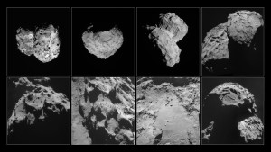 These images of comet 67P/Churyumov-Gerasimenko were taken by Rosetta's navigation camera between August and November 2014. Top row, left to right: Comet pictured on August 6, 2014, at a distance of 96 km; August 14, at a distance of 100 km; August 22, at a distance of 64 km; September 14, at a distance of 30 km. Bottom row, left to right: Comet pictured on September 24, at a distance of 28 km; October 24, at a distance of 10 km; October 26, at a distance of 8 km; November 6, at a distance of 30 km. Credit: ESA/Rosetta/NavCam – CC BY-SA IGO 3.0