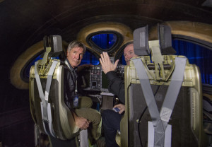 Actor and Pilot Harrison Ford listens to Virgin Galactic chief pilot Dave Mackay inside the new SS2. Credit: Mark Greenberg/Virgin Galactic