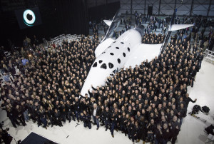 Virgin Spaceship Unity is unveiled in Mojave, California, Friday February 19th, 2016. VSS Unity is the first vehicle to be manufactured by The Spaceship Company, Virgin Galactic's wholly owned manufacturing arm, and is the second vehicle of its design ever constructed. VSS Unity was unveiled in FAITH (Final Assembly Integration Test Hangar), the Mojave-based home of manufacturing and testing for Virgin Galactic's human space flight program. Credit: Mark Greenberg/Virgin Galactic