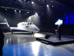 Richard Branson during rollout ceremonies for new SpaceShipTwo. Credit: Leonard David