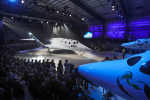 Virgin Spaceship Unity is unveiled in Mojave, California, Friday, February 19th, 2016. VSS Unity is the first vehicle to be manufactured by The Spaceship Company, Virgin Galactic's wholly owned manufacturing arm, and is the second vehicle of its design ever constructed. VSS Unity was unveiled in FAITH (Final Assembly Integration Test Hangar), the Mojave-based home of manufacturing and testing for Virgin Galactic's human space flight program. Credit: Mark Greenberg/Virgin Galactic