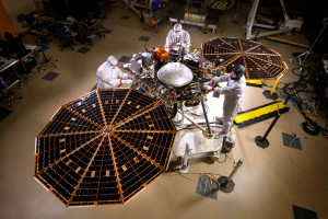 Pre-ship photo shows NASA's InSight Mars lander spacecraft in a Lockheed Martin clean room near Denver. As part of a series of deployment tests, the spacecraft was commanded to deploy its solar arrays in the clean room to test and verify the exact process that it will use on the surface of Mars. Credit: NASA/JPL-Caltech/Lockheed Martin