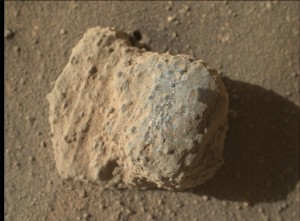 NASA's Mars rover Curiosity acquired this image using its Mars Hand Lens Imager (MAHLI), located on the turret at the end of the rover's robotic arm. Image taken on March 11, 2016, Sol 1278. Imagery of this nodule shows individual grains of sand and laminations from the sandstone deposit in which the nodule formed. This nodule is about one inch (two centimeters) across. Credit: NASA/JPL-Caltech/MSSS