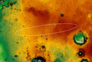 The ExoMars 2016 entry, descent, and landing demonstrator module, also known as Schiaparelli, will touch down on Meridiani Planum, a relatively smooth, flat region on Mars, on October 19, 2016. The lowest areas on this map are shown in green, while the highest areas are dark brown. The large crater on the right (East) of the image is Endeavour, which is about 14 miles (22 kilometers) in diameter. Opportunity has been studying its western rim since 2011. Credit: ESA/IRSPS/TAS-I