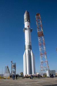 Roll out completed, launcher in vertical position on the pad Proton-M launcher from Baikonur, Kazakhstan. Credit: ESA – B. Bethge