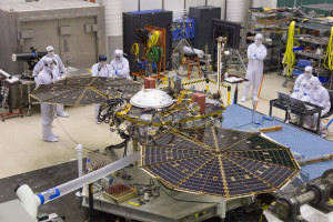 InSight Mars lander undergoing a solar array deployment test in the MTF clean room at Lockheed Martin. Credit: Lockheed Martin