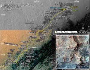 This map shows the route driven by NASA's Mars rover Curiosity through the 1281 Martian day, or sol, of the rover's mission on Mars (March, 14, 2016). Numbering of the dots along the line indicate the sol number of each drive. North is up. The scale bar is 1 kilometer (~0.62 mile). From Sol 1276 to Sol 1281, Curiosity had driven a straight line distance of about 43.73 feet (13.33 meters). The base image from the map is from the High Resolution Imaging Science Experiment Camera (HiRISE) in NASA's Mars Reconnaissance Orbiter. Credit: NASA/JPL-Caltech/Univ. of Arizona