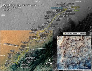 Curiosity's Traverse Map Through Sol 1290 This map shows the route driven by NASA's Mars rover Curiosity through the 1290 Martian day, or sol, of the rover's mission on Mars (March, 24, 2016). Numbering of the dots along the line indicate the sol number of each drive. North is up. The scale bar is 1 kilometer (~0.62 mile). From Sol 1289 to Sol 1290, Curiosity had driven a straight line distance of about 73.34 feet (22.35 meters). The base image from the map is from the High Resolution Imaging Science Experiment Camera (HiRISE) in NASA's Mars Reconnaissance Orbiter. Image Credit: NASA/JPL-Caltech/Univ. of Arizona