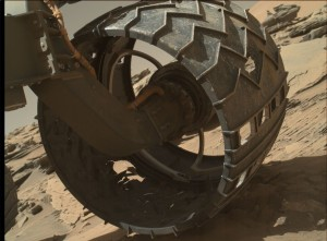 Curiosity inspection of its wheels using its Mars Hand Lens Imager (MAHLI) on April 18, 2016, Sol 1315. Credit: NASA/JPL-Caltech/MSSS