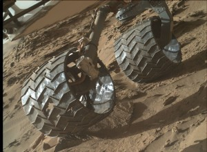 Wheel damage assessment. NASA's Mars rover Curiosity acquired this image using its Mars Hand Lens Imager (MAHLI), located on the turret at the end of the rover's robotic arm, on April 16, 2016, Sol 1313. Credit: NASA/JPL-Caltech/MSSS