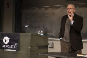 On April 27, James Lovell spoke at MIT as a special guest, invited by the Department of Aeronautics and Astronautics. Photo: Bill Litant