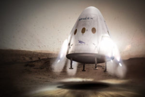 SpaceX Dragon makes use of Supersonic Retro-Propulsion (SRP) to land on Mars. Credit: SpaceX
