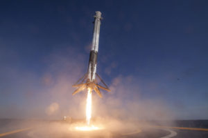 """Retro-propulsion trial by fire. SpaceX first stage landing taken by remote camera photo from """"Of Course I Still Love You"""" droneship on April 8, 2016. Credit: SpaceX"""