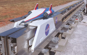 Different technologies to push a spacecraft down a long rail have been tested in several settings, including this Magnetic Levitation (MagLev) System evaluated at NASA's Marshall Space Flight Center. Credit: NASA