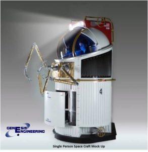 Single Person Spacecraft (SPS) mock up. Credit: Genesis Engineering