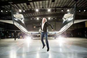 Practicing liftoff of commercial space travel, Virgin Galactic visionary, Richard Branson. Credit: Jack Brockway