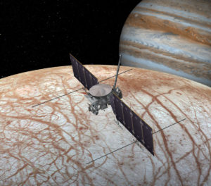 This artist's rendering shows NASA's Europa mission spacecraft, which is being developed for a launch sometime in the 2020s. This view shows the spacecraft configuration, which could change before launch, as of early 2016. Credit: NASA/JPL-Caltech