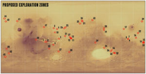 Overview map shows all proposed Exploration Zones (EZ)/human landing sites for NASA's 2035 Mars mission. Credit: ICA/NASA