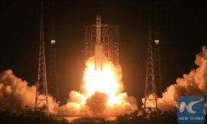 Long March 7 departs Wenchang coastal spaceport. Credit: New China