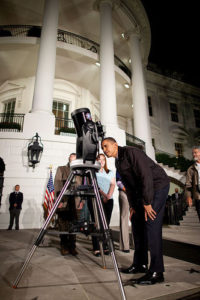President Obama looks through a telescope during the 2009 White House Astronomy Night. Credit: Chuck Kennedy