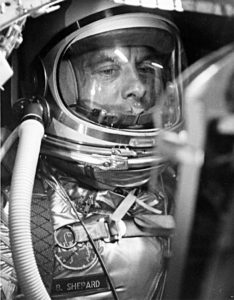 New Shepard is named after America's first space pilot, Alan Shepard. He flew over 55 years ago on a 15-minute suborbital flight, lifting off on May 5, 1961 and splashing down in the Atlantic under parachute. Credit: NASA