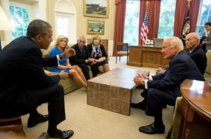 President Barack Obama meets with Apollo 11 astronauts Buzz Aldrin and Michael Collins, right, Carol Armstrong, widow of Apollo 11 commander Neil Armstrong, NASA Administrator Charles Bolden, and Patricia Falcone, OSTP Associate Director for National Security and International Affairs, left, in the Oval Office. This gathering marked the 45th anniversary of the Apollo 11 lunar landing. July 22, 2014. Credit: Official White House Photo by Pete Souza