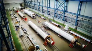 Elements of China's Long March 7 booster manufactured in Tianjin. Credit: CASC