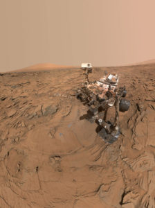 "May 11, 2016 selfie of NASA's Curiosity Mars rover at a drilled sample site called ""Okoruso."" Note the veneer of windblown reddish particles on the deck of the robot. Credit: NASA/JPL-Caltech/MSSS"