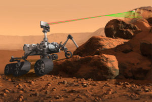 NASA's Mars 2020 rover is to seek signs of past life on Mars, collect and store a set of soil and rock samples that could be returned to Earth in the future. Shown here is an artistic representation of the robot's SuperCam instrument during operation. Credit: NASA