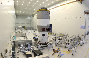 Tiangong-2 space lab being readied for flight. Credit: CAST