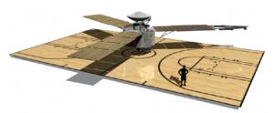 Size of Juno relative to a basketball court. Credit: NASA/JPL-Caltech