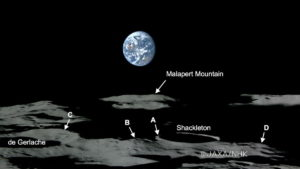 Lunar South Pole, 4 peaks are identified which are illuminated more than 80% of the time. Credit: JAXA